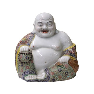 Chinese Porcelain Color Sitting Happy Buddha Statue For Sale