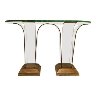 Vintage Glass Top Console Table