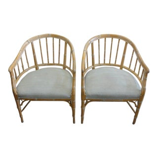 Faux Bamboo Barrel Chairs - A Pair