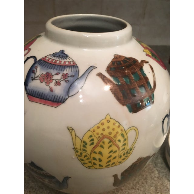 Ceramic Ginger Jar with Hand Painted Teapot Motif - Image 5 of 7