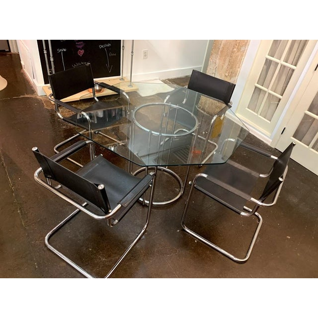 "Vintage mid-century modern black on black Mart Stam S34 Cantilever arm chairs. CHAIRS (approx 24"" W x 24"" D x 31"" H)..."