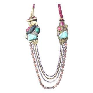 Artisan Stone & Glass Beaded Avant Garde Necklace For Sale