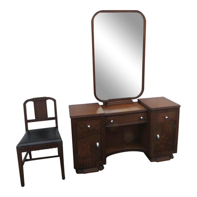 Art Deco Walnut Set of Vanity Writing Desk With Mirror and Chair For Sale