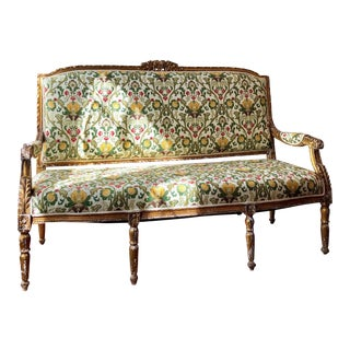 Antique French Louis XVI Style Giltwood Settee For Sale