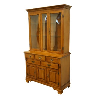 20th Century Early American Tell City Colonial Solid Hard Rock MapleBuffet With Display China Cabinet Preview