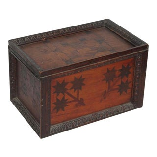 19th Century Inlaid Gaming Pieces Box With Slide Top For Sale