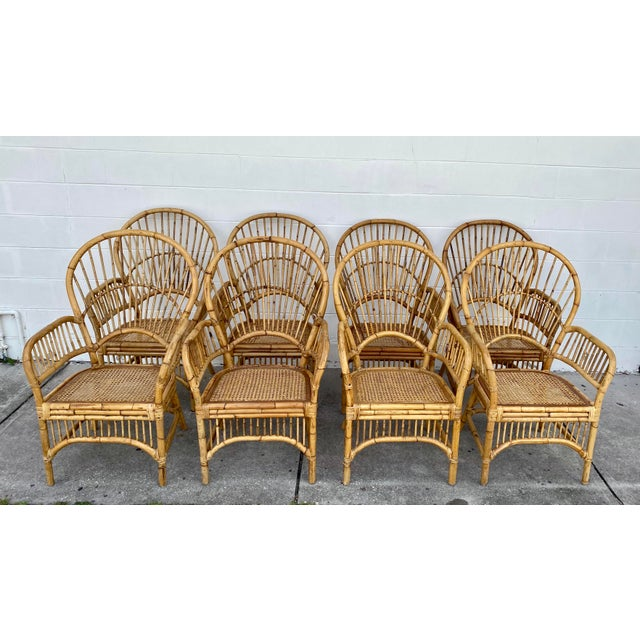 Vintage Rattan Fan Back Chairs- Set of 8 For Sale - Image 13 of 13