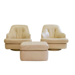 Milo Baughman for Directional Lounge Chairs and Ottoman For Sale