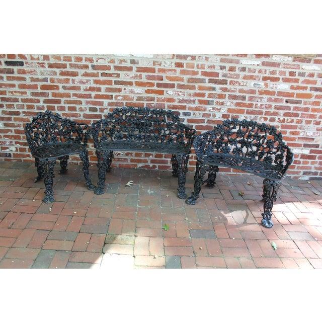 1900 - 1909 Antique Victorian Cast Iron Grape Vine Garden Set - 3 Pieces For Sale - Image 5 of 7