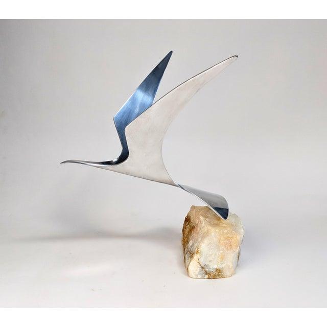 Curtis Jere Aluminum Seagull Table Sculpture on Quartz Rock Base - Image 3 of 10