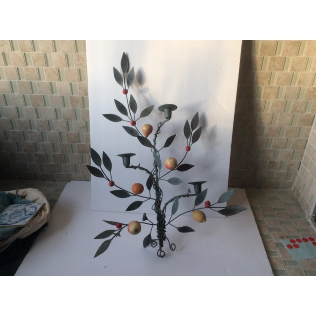 Painted Tole Candle Wall Sconce With Fruits - Image 2 of 11