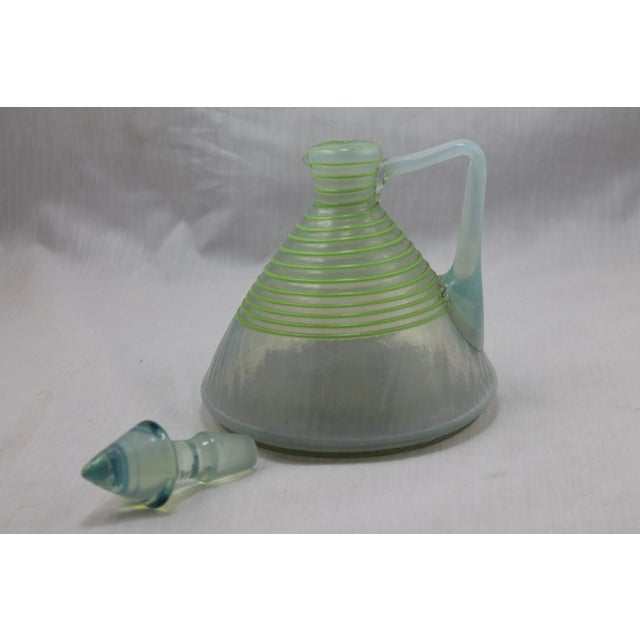 Art Deco Era Frederick Carder's Steuben Opalescent Threaded Art Glass Decanter For Sale - Image 10 of 11