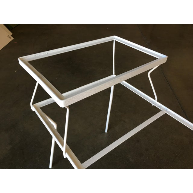 Art Deco Two-Tier Art Deco Glass Top Outdoor/Patio Side Tables by Woodard - a Pair For Sale - Image 3 of 8