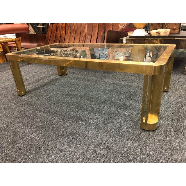 Brass 1970s Italian Brass Coffee Table With Great Design For Sale - Image 7 of 11
