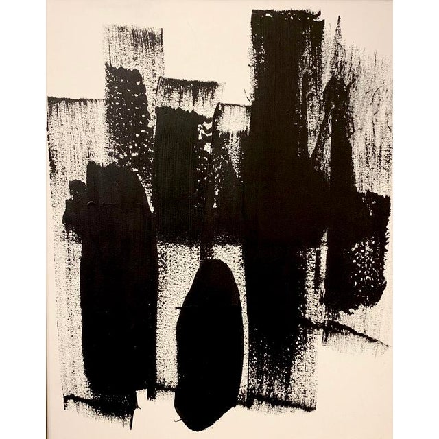 Original abstract black and white acrylic painting on canvas. Framed professionally in a vintage gold frame.