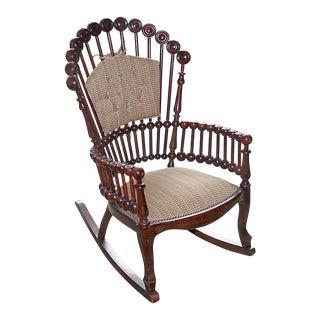 19th Century Victorian Hunzinger Lollipop Walnut Rocking Chair
