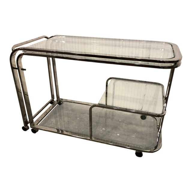 Silver Design Institute of America Chrome Bar Cart For Sale - Image 8 of 8