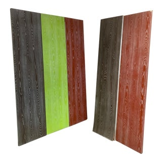 Modern 3-Panel Decorative Functional Painted Graphic Backgrounds and Screen Room Dividers - a Pair For Sale