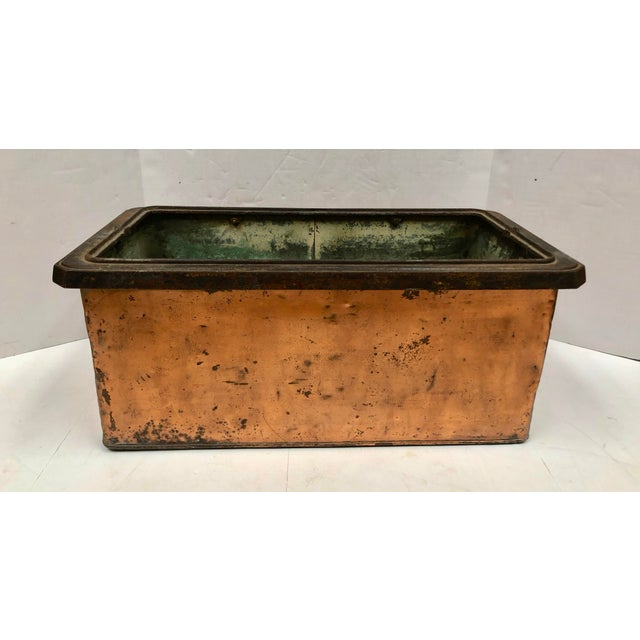 1930s Vintage French Rectangular Copper Planter For Sale - Image 4 of 9