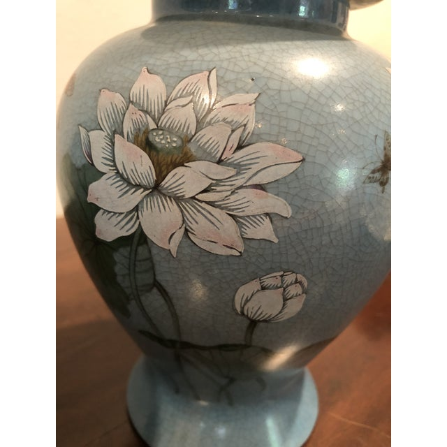Late 20th Century 20th Century Chinoiserie Blue Ceramic Ginger Jars - a Pair For Sale - Image 5 of 6