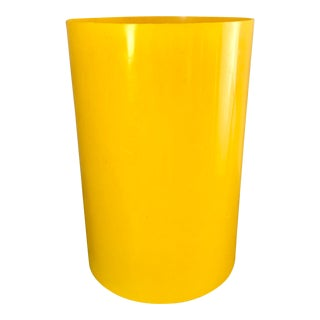 Vintage Gino Colombini Kartell Bright Yellow Plastic Wastebasket For Sale