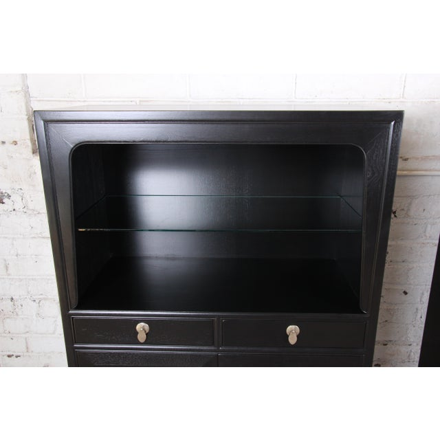 Michael Taylor for Baker Far East Collection Ebonized Chinoiserie Wall Units, Pair For Sale In South Bend - Image 6 of 13