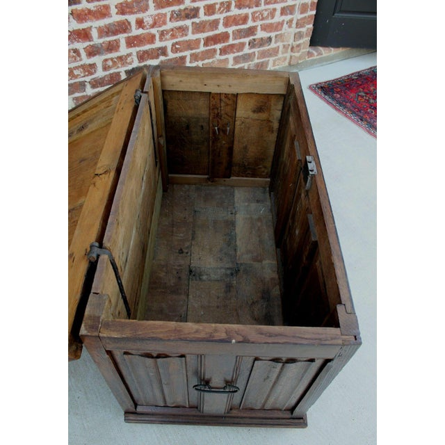 Antique French Oak 19th Century Gothic Coffer Chest Blanket Box Trunk For Sale - Image 4 of 12
