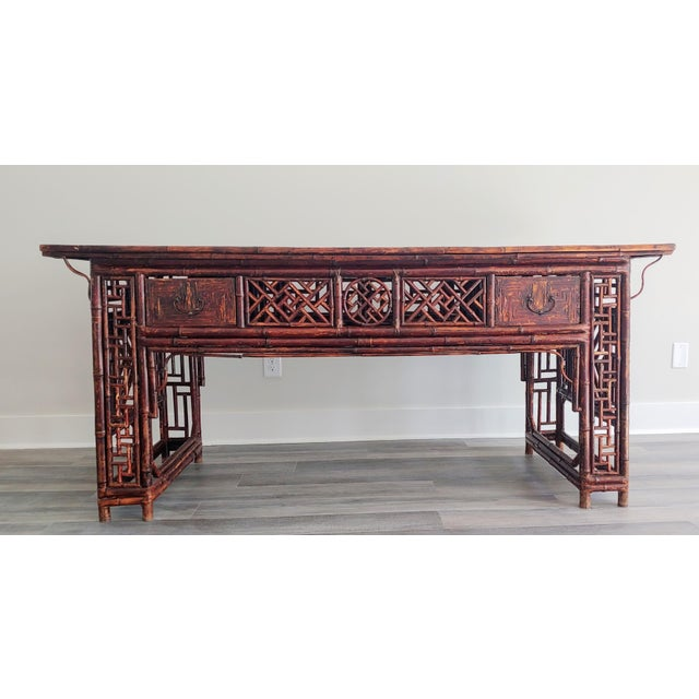 Antique Chinese Chippendale Frettwork Altar Console Table For Sale - Image 13 of 13
