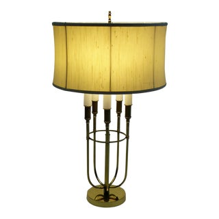 Mid Century Modern Parzinger Style Solid Brass 5 Candle Boulliotte Lamp 1950s
