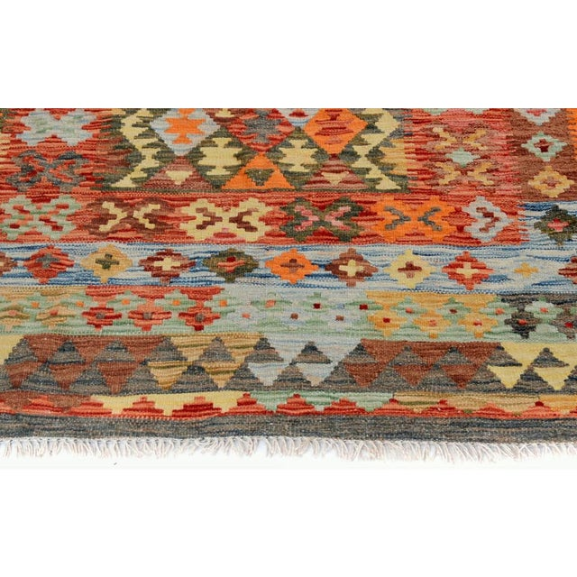 Arya Rickie Blue/Orange Wool Kilim Rug - 4'10 X 6'9 A9368 For Sale In New York - Image 6 of 7