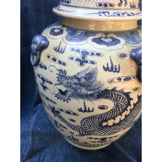 Chinese Dragon Urn W/ Foo Dog Handle Lid - Image 4 of 11