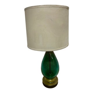 1950s Murano Green and Gold Glass Lamp For Sale