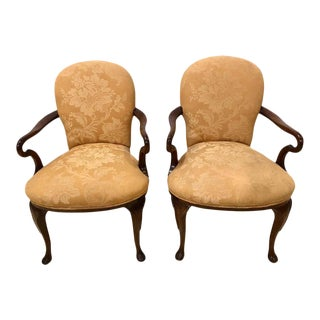 Pair of Queen Anne Style Open Armchairs or Bergeres For Sale