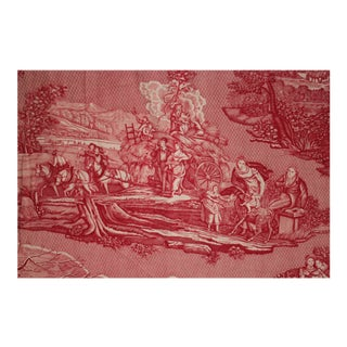 """Vintage French Red Toile De Jouy Fabric - 31x92"""" For Sale"""