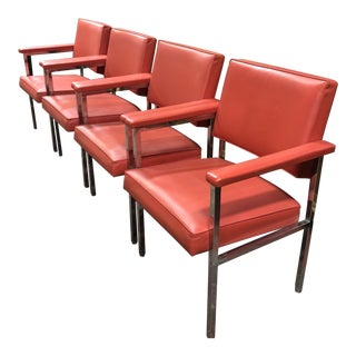 1970s Mid Century Modern Steelcase Red Vinyl and Chrome Armchairs - Set of 4 For Sale