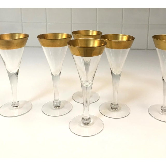 Set of Six Crystal Gold Rim Cordial Glasses by Dorothy Thorpe For Sale In Miami - Image 6 of 13