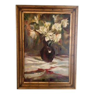 Traditional Floral Still Life Framed Oil Painting Signed G. Young For Sale