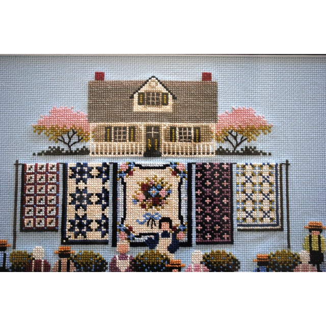 1990s Amish Style Blueberry Homecoming Cross Stitch Textile Art For Sale - Image 5 of 8