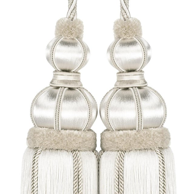 """Ivory Double Tassel Tieback With Cut Ruche - Tassel Height 17"""" For Sale In Charlotte - Image 6 of 8"""