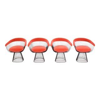 Set of Four Warren Platner Bronze Dining Chairs