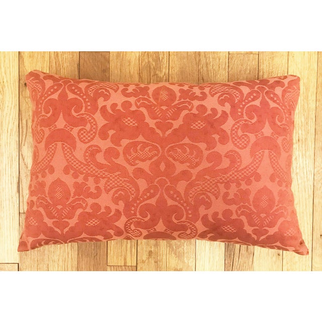 Burnt Orange Vintage French Floral Textile Pillows- Set of Three For Sale - Image 8 of 13