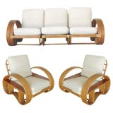 Image of Restored Paul Frankl Style Six-Strand Arm With Mahogany Shelf, Sofa + Chairs For Sale