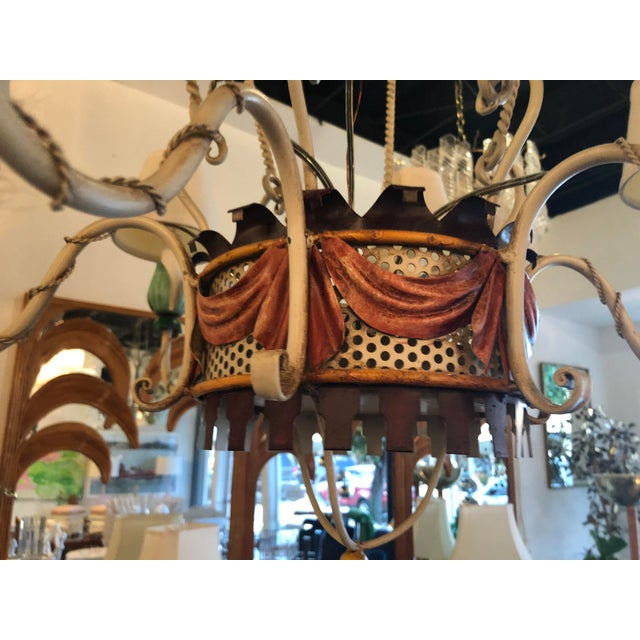 Vintage Italian Tole Metal Hot Air Balloon Chandelier For Sale In West Palm - Image 6 of 13