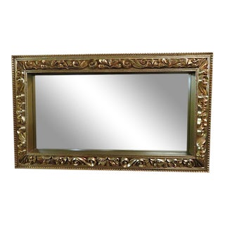 Mid Century Mirror Gold Framed Wall For Sale