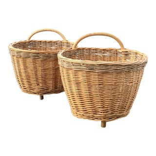 French Three Footed Handled Baskets - a Pair
