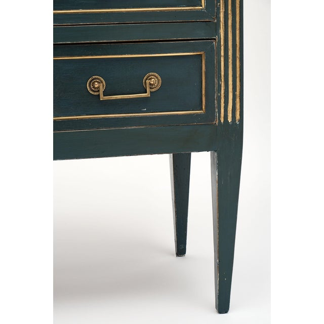 Blue Antique French Louis XVI Style Painted Walnut Chest For Sale - Image 8 of 9