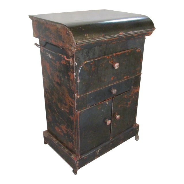 Antique Riveted Steel Campaign Style Vanity and Wash Basin For Sale