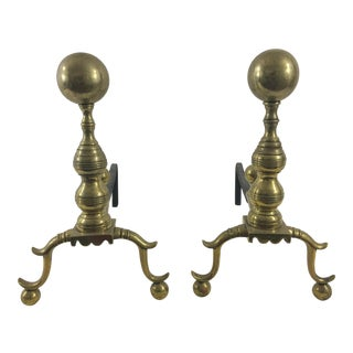 English 19th Century Cannonball Andirons - a Pair