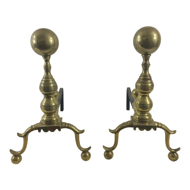 English 19th Century Cannonball Andirons - a Pair For Sale
