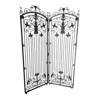 Theodore Alexander 2 Panel Silver Antiqued Iron Screen Room Divider For Sale